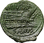 reverse:  L. Titurius L.f. Sabinus.  AE As, 89 BC. Obv. Laureate head di Janus, above mark of value I. Rev. Prow right; above L.L.TITVRI LF; before, Victory holding wreath; below, SABINVS (AB and IN ligate). Cr. 344/4a. AE. g. 10.63  mm. 27.00    About EF. Lovely dark-green patina.