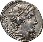 obverse: Mn. Fonteius.  AR Denarius, 85 BC. Obv. Laureate head of Vejovis right, MN. FONTEI behind, C.F below chin. Rev. Infant winged Genius seated on goat right; on either side, pileus. In exergue, thyrsus. All within laurel wreath. Cr. 353/1d. B. 11. AR. g. 3.98  mm. 20.00    About FDC. Struck from dies of exceptional artistic merit. Brilliant and superb. Lightly toned.
