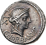 obverse: C. Norbanus.  AR Denarius, 83 BC. Obv. Diademed head of Venus right, C. NORBANVS below, CLX behind. Rev. Ear of corn, fasces and caduceus. Cr. 357/1b. B.2. AR. g. 3.69  mm. 18.00    EF. Lovely iridescent tone.