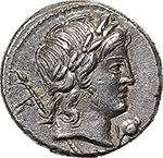 obverse: P. Crepusius.  AR Denarius, 82 BC. Obv. Laureate head of Apollo right, sceptre on far shoulder, B behind; below chin, poppy head with stalk. Rev. Horseman right, brandishing spear; behind, CLXXVI. In exergue, P. CREPVSI. Cr. 361/1c. B.1. AR. g. 3.81  mm. 17.50    FDC. Lightly toned and virtually as struck. Exceptional.