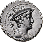 obverse:  C. Mamilius Limetanus.  AR  Denarius, 82 BC. Obv. Bust of Mercury right; behind, caduceus; above, F. Rev. C. MAMIL-LIMETAN. Ulysses standing right, holding staff and extending his right hand to his dog Argus. Cr. 362/1. AG. g. 3.87  mm. 19.50  Scarce.  Good EF.