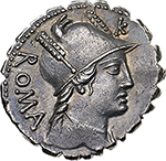 obverse: C. Poblicius Q. f.  AR Denarius, 80 BC. Obv. Draped bust of Roma right, two feathers on helmet, ROMA behind and K above. Rev. C. POBLICI Q.F. Hercules strankling the Nemean lion; at his feet, club. Cr. 380/1. B.9. AR. g. 3.75  mm. 19.00    Good EF.