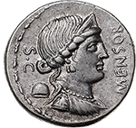 obverse: L. Farsuleius Mensor.  AR Denarius, 76 BC. Obv. Diademed and draped bust of Libertas right, wearing triple-pendant earring and necklace; pileus to left; S.C. behind; MENSOR before. Rev. Warrior standing facing in biga rearing right, head left, assisting togate figure to left; below, CVI; in exergue, L.FARSVLEI. Cr. 392/1. AR. g. 3.98  mm. 19.30    About EF. Well centred.