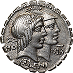 obverse: Q. Fufius Calenus and Mucius Cordus.  AR Denarius, 70 BC. Obv. Jugate heads of Honos and Virtus; in left field, HO and in right field, VIRT. Below, KALENI. Rev. Italia, holding cornucopiae, and Roma, holding fasces and placing right foot on globe, clasping their hands; at sides, winged caduceus/ITAL-RO. In exergue, CORDI. Cr. 403/1. B.1. AR. g. 4.03  mm. 20.00  Scarce. Insignificant area of weakness on reverse, otherwise EF. Brilliant and superb. Lightly toned.