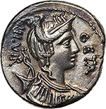 obverse: C. Hosidius C. f. Geta.  AR Denarius, 68 BC. Obv. Diademed head of Diana right, bow and quiver at her shoulder, GETA before, III VIR behind. Rev. The wild boar of Calydon right, pierced by spear and attacked by dog; in exergue, C. HOSIDI CF. Cr. 407/2. B.1. AR. g. 3.81  mm. 18.00   Insignificant area of oxidation on obverse, otherwise EF.