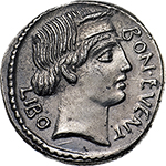 obverse: L. Scribonius Libo.  AR Denarius, 62 BC. Obv. BON EVENT-LIBO. Diademed head of Bonus Eventus right. Rev. PVTEAL-SCRIBON. Scribonian well; hammer set on base. Cr. 416/1a. B.8. AR. g. 3.89  mm. 19.00   An almost invisible graffito (X) in left field on reverse, otherwise good EF. Perfectly struck on a broad flan. A superb example, brilliant and lightly toned.