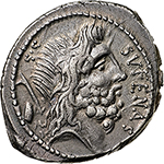 obverse: M. Nonius Sufenas.  AR Denarius, 57 BC. Obv. Head of Saturn right; to left, harpa and oval object; S • C to left, SVFENAS  to right. Rev. Roma seated on pile of armour, holding sceptre and sword; behind Victory, holding palm branch and crowning Roma; around, PR.L.V.P.F;  in exergue, SEX.NONI. Cr. 421/1. AR. g. 3.93  mm. 21.00    About EF. Enchanting patina with iridiscent hues.