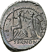 reverse: M. Nonius Sufenas.  AR Denarius, 57 BC. Obv. Head of Saturn right; to left, harpa and oval object; S • C to left, SVFENAS  to right. Rev. Roma seated on pile of armour, holding sceptre and sword; behind Victory, holding palm branch and crowning Roma; around, PR.L.V.P.F;  in exergue, SEX.NONI. Cr. 421/1. AR. g. 3.93  mm. 21.00    About EF. Enchanting patina with iridiscent hues.