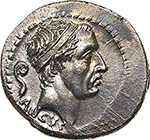 obverse: L. Marcius Philippus.  AR Denarius, 56 BC. Obv. Diademed head of Ancus Marcius right; behind, lituus and below, ANCVS. Rev. PHILIPPVS. Equestrian statue standing on aqueduct; at horse s feet, flower. Below, A-Q-V-A-MAR ligate within the arches. Cr. 425/1. B.28. AR. g. 4.15  mm. 20.00   Reverse slightly off-centre, but complete.  About FDC. Broad flan on choice metal, of unusually high weight. Virtually as struck.