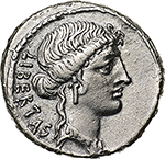 obverse:  M. Junius Brutus.  AR Denarius, 54 BC. Obv. LIBERTAS. Head of Libertas right. Rev. The consul L. Junius Brutus walking left between two lictors and preceded by an Accensus; BRVTVS in exergue. Cr. 433/1. AR. g. 3.17  mm. 20.00    About EF.