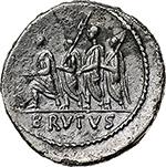 reverse:  M. Junius Brutus.  AR Denarius, 54 BC. Obv. LIBERTAS. Head of Libertas right. Rev. The consul L. Junius Brutus walking left between two lictors and preceded by an Accensus; BRVTVS in exergue. Cr. 433/1. AR. g. 3.17  mm. 20.00    About EF.