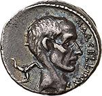 obverse: P. Cornelius Lentulus Marcellinus.  AR Denarius, 50 BC. Obv. Bare head of consul M. Claudius Marcellus right; trisceles behind. Rev. MARCELLVS COS QVINQ. The consul carrying trophy in front of tetrastyle temple. Cr. 439/1. B.(Claudia) 11 and (Cornelia) 69. AR. g. 3.90  mm. 18.50  RR.  EF. Very rare. Wonderful iridescent old cabinet tone.
