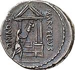 reverse: P. Cornelius Lentulus Marcellinus.  AR Denarius, 50 BC. Obv. Bare head of consul M. Claudius Marcellus right; trisceles behind. Rev. MARCELLVS COS QVINQ. The consul carrying trophy in front of tetrastyle temple. Cr. 439/1. B.(Claudia) 11 and (Cornelia) 69. AR. g. 3.90  mm. 18.50  RR.  EF. Very rare. Wonderful iridescent old cabinet tone.