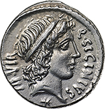 obverse: Q. Sicinius and C. Coponius.  AR Denarius, mint moving with Pompey, 49 BC. Obv. Q. SICINIVS-III VIR. Head of Apollo right, hair tied with band; below, star. Rev. C. COPONIVS-PR.S.C. The club of Hercules surmounted by lion s skin with scalp to right, bow on right, arrow on left. Cr. 444/1a. B.1. AR. g. 3.81  mm. 18.00    Good EF. Perfectly centred and exceptional.