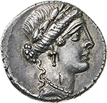 obverse: L. Hostilius Saserna.  AR Denarius, 48 BC. Obv. Female head right, wearing oak-wreath and diadem. Rev. L·HOSTILIVS SASERNA. Victory advancing right, holding trophy over left shoulder and caduceus in right hand. Cr. 448/1a. AR. g. 4.17  mm. 18.30   Banker s marks on obv.  EF/About EF. Lightly toned.