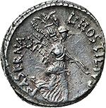 reverse: L. Hostilius Saserna.  AR Denarius, 48 BC. Obv. Female head right, wearing oak-wreath and diadem. Rev. L·HOSTILIVS SASERNA. Victory advancing right, holding trophy over left shoulder and caduceus in right hand. Cr. 448/1a. AR. g. 4.17  mm. 18.30   Banker s marks on obv.  EF/About EF. Lightly toned.