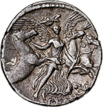 reverse: L. Plautius Plancus.  AR Denarius, 47 BC. Obv. Mask of Medusa facing. Rev. Aurora flying right, conducting the four horses of the Sun, PLANCVS below. Cr. 453/1c. AR. g. 3.77  mm. 19.00  Scarce.  About EF. A superb example, unusually perfectly centred and complete. Lightly toned.