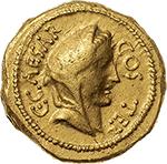 obverse: Julius Caesar. A Hirtius, praetor.  AV Aureus, 46 BC. Obv. C. CAESAR COS TER. Veiled female head (Vesta or Pietas?) right. Rev. A. HIRTIVS. PR. Emblems of the pontificate: lituus, capis and securis. Cr. 466/1. AV. g. 8.11  mm. 19.50   A few light scratches on the reverse, otherwise VF/Good VF.