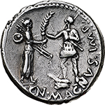 reverse: Pompey the Great.  AR Denarius, 46-45 BC. Spain. Obv. M. POBLICI. LEG. PRO. PR. Helmeted head of Roma right. Rev. CN. MAGNVS IMP. Female figure standing right, holding two spears in left hand and presenting palm branch to soldier standing left on prow of ship. Cr. 469/1. B. 9. AR. g. 3.94  mm. 20.00  R.  Good VF. Rare. Excellent metal and perfectly centred on a broad flan.