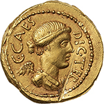 obverse: Julius Caesar. L. Munatius Plancus, praefectus Urbi.  AV Aureus, 46-45 BC. Rome mint. Obv. C. CAES DIC. TER. Diademed and draped bust of Victory right. Rev. L. PLANC PRAEF. VRB. Sacrificial jug with one handle. Cr. 475/1a. AV. g. 8.04  mm. 20.50  R. Scratch on obverse and slight bend to flan, otherwise good VF+.