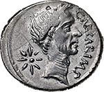 obverse: Julius Caesar and P. Sepullius Macer.  AR Denarius, 44 BC. Obv. CAESAR IMP. Wreathed head of Caesar right; star of eight rays behind. Rev. P SEPVLLIVS MACER. Venus standing left, holding Victory and sceptre; star below sceptre. Cr. 480/5b. AR. g. 3.80  mm. 20.00  RR. Minor nick to left on obverse, otherwise good EF. Very rare and in exceptional condition for the issue. Struck on sound metal and unusually well centred on a very broad flan.