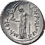 reverse: Julius Caesar and P. Sepullius Macer.  AR Denarius, 44 BC. Obv. CAESAR IMP. Wreathed head of Caesar right; star of eight rays behind. Rev. P SEPVLLIVS MACER. Venus standing left, holding Victory and sceptre; star below sceptre. Cr. 480/5b. AR. g. 3.80  mm. 20.00  RR. Minor nick to left on obverse, otherwise good EF. Very rare and in exceptional condition for the issue. Struck on sound metal and unusually well centred on a very broad flan.