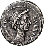 obverse: Julius Caesar.  AR Denarius, c. 44 BC. Obv. CAESAR IMPER. Laureate head right. Rev. M. METTIVS. Venus leaning on shield on globe left, holding Victory, before, A. Cr. 480/17. AR. g. 3.55  mm. 18.50  RR. Insignificant banker s mark on obverse, otherwise good VF. Very rare. A very attractive portrait. Old cabinet tone.