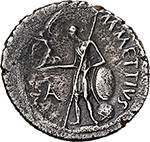 reverse: Julius Caesar.  AR Denarius, c. 44 BC. Obv. CAESAR IMPER. Laureate head right. Rev. M. METTIVS. Venus leaning on shield on globe left, holding Victory, before, A. Cr. 480/17. AR. g. 3.55  mm. 18.50  RR. Insignificant banker s mark on obverse, otherwise good VF. Very rare. A very attractive portrait. Old cabinet tone.