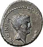 obverse: Mark Antony.  AR Denarius, 42 BC. Military mint traveling with Antony in Greece. Obv. M. ANTONI IMP. Bearded bare head right. Rev. III VIR R. P.C. Distyle temple; within medallion bearing radiate bust of Sol facing. Cr. 496/1. AR. g. 3.55  mm. 17.60    VF. Toned.