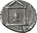 reverse: Mark Antony.  AR Denarius, 42 BC. Military mint traveling with Antony in Greece. Obv. M. ANTONI IMP. Bearded bare head right. Rev. III VIR R. P.C. Distyle temple; within medallion bearing radiate bust of Sol facing. Cr. 496/1. AR. g. 3.55  mm. 17.60    VF. Toned.
