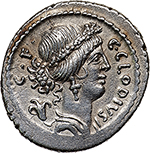 obverse: C. Clodius C.f. Vestalis.  AR Denarius, 41 BC. Obv. C. CLODIVS-C.F. Wreathed bust of Flora right; behind, flower. Rev. VESTALIS. Vestal Virgin, Claudia Quinta, seated left, holding cucullus in right hand. Cr. 512/2. B. 13. Banti 21 (R7). AR. g. 3.92  mm. 19.50  R.  EF/About EF. A rare variant: cf. Banti 21, rarity degree 7. In exceptional condition for the issue. Superb and lightly toned.