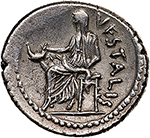 reverse: C. Clodius C.f. Vestalis.  AR Denarius, 41 BC. Obv. C. CLODIVS-C.F. Wreathed bust of Flora right; behind, flower. Rev. VESTALIS. Vestal Virgin, Claudia Quinta, seated left, holding cucullus in right hand. Cr. 512/2. B. 13. Banti 21 (R7). AR. g. 3.92  mm. 19.50  R.  EF/About EF. A rare variant: cf. Banti 21, rarity degree 7. In exceptional condition for the issue. Superb and lightly toned.