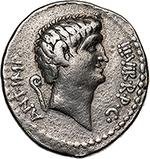 obverse: Mark Antony.  AR Denarius, mint moving with Mark Antony, 40 BC. Obv. ANT. IMP. III. VIR. R.P.C. Bare head of Mark Antony right; behind, lituus. Rev. CN. DOMIT. AHENOBARBVS IMP. Prow right; above, star. Cr. 521/2. AR. g. 3.69  mm. 19.50  RR.  VF. Very rare. Excellent portrait. Lightly toned.