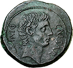 obverse:   AE 32 mm, circa 38 BC. Obv. CAESAR DIVI F. Head of Octavian right, bearded. Rev. DIVOS IVLIVS. Wreathed head of Caesar right. Cr. 535/1. AE. g. 19.26  mm. 32.00    About EF. In exceptional condition for the issue.