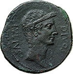 reverse:   AE 32 mm, circa 38 BC. Obv. CAESAR DIVI F. Head of Octavian right, bearded. Rev. DIVOS IVLIVS. Wreathed head of Caesar right. Cr. 535/1. AE. g. 19.26  mm. 32.00    About EF. In exceptional condition for the issue.