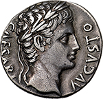 obverse:  Augustus (27 BC - 14 AD).  AR Denarius, circa 18 BC. Spain (Colonia Patricia?. Obv. CAESARI AVGVSTO. Laureate head right. Rev. MAR V[LT] to left and right of domed temple with six columns; within, aquila between two standards. RIC 105a. AR. g. 3.78  mm. 18.00  Scarce.  Good VF. Nice patina. Ex LAC 29, lot. 114.