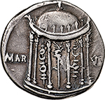reverse:  Augustus (27 BC - 14 AD).  AR Denarius, circa 18 BC. Spain (Colonia Patricia?. Obv. CAESARI AVGVSTO. Laureate head right. Rev. MAR V[LT] to left and right of domed temple with six columns; within, aquila between two standards. RIC 105a. AR. g. 3.78  mm. 18.00  Scarce.  Good VF. Nice patina. Ex LAC 29, lot. 114.