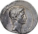 obverse: Augustus (27 B.C - 14 A.D.).  AR Denarius, 29-27 BC. Obv. Bare head right. Rev. IMP-CAESAR divided by a terminal figure with head of Augustus placed on thunderbolt. RIC 269 a. AR. g. 3.51  mm. 21.00  R.  EF. Rare and superb. An outstanding portrait on a broad flan. Lightly toned.
