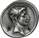 obverse: Augustus (27 BC. - 14 AD.).  AR Denarius, 29-27 BC. Obv. Bare head right. Neck flanked by two star-shaped banker s marks. Rev. IMP-CAESAR divided by a terminal figure with head of Augustus, placed on thunderbolt. RIC 269 a. AR. g. 3.54  mm. 20.00  R.  Good VF/VF. Very interesting star-shaped banker s marks, intentionally placed at sides of Augustus  neck. A wonderful portrait. Attractive cabinet tone.