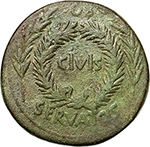 obverse: Augustus (27 BC - 14 AD).  AE Sestertius, P. Licinius Stolo, moneyer, 17 BC. Obv. OB CIVIS (within oak wreath) SERVATOS between two laurel branches. Rev. P LICINIVS STOLO III VIR AAA  FF round large SC. RIC 345. AE. g. 22.58  mm. 35.00  Scarce. Weakness. Good VF. Green patina.