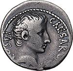 obverse: Augustus (27 BC. - 14 AD.).  AR Denarius, 28 BC. Pergamum mint. Obv. CAESAR DIVI F COS VI. Bare head right. Rev. AEGVPTO CAPTA. Crocodile right, Jaws closed. RIC 545 (R3). AR. g. 3.72  mm. 18.50  RRR.  VF. Very rare.