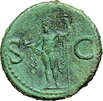 reverse: Agrippa (died in 12 A.D.).  AE As, struck under Gaius, circa 37-41. Obv. M AGRIPPA·L·F·COS·III. Head left, wearing rostral crown. Rev. S-C. Neptune standing left, cloaked, holding small dolphin and trident. RIC (Gaius) 58. AE. g. 11.46  mm. 28.00    EF/About EF.
