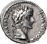 obverse: Tiberius (14-37).  AR Denarius, 15-16 AD. Lugdunum mint. Obv. TI CAESAR DIVI AVG F AVGVSTVS. Laureate head right. Rev. TR POT XVII IMP VII (in exergue). Tiberius, laureate and cloaked, standing in slow quadriga right, right holding laurel branch, left eagle-tipped sceptre. RIC 4. AR. g. 3.72  mm. 19.00  RR.  EF.