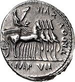 reverse: Tiberius (14-37).  AR Denarius, 15-16 AD. Lugdunum mint. Obv. TI CAESAR DIVI AVG F AVGVSTVS. Laureate head right. Rev. TR POT XVII IMP VII (in exergue). Tiberius, laureate and cloaked, standing in slow quadriga right, right holding laurel branch, left eagle-tipped sceptre. RIC 4. AR. g. 3.72  mm. 19.00  RR.  EF.