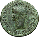 obverse: Nero Claudius Drusus, brother of Tiberius, father of Germanicus and Claudius (died in 9 A.D.).  AE Sestertius, struck under Claudius. Obv. NERONI CLAVDIO DRVSO GERMANICO COS DESIG. Bare head left. Rev. TI CLAVDIVS CAESAR AVG P M TR P IMP P P SC. Claudius, bare-headed and togate, seated left on curule chair, right holding out branch; miscellaneous weapons and armour lying around. RIC (Claud.) 109. AE. g. 27.63  mm. 37.00  Scarce. A few minor cleaning marks. About EF.