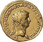 obverse: Claudius (41-54).  AV Aureus, 46-47 AD. Obv. TI CLAVD CAESAR AVG P M TR P VI IMP XI. Laureate head right. Rev. PACI AVGVSTAE. Pax-Nemesis, winged, advancing right, left holding winged caduceus pointing down at snake, right holding out fold of drapery below chin. RIC 38. AV. g. 7.61  mm. 19.00  RR.  VF.
