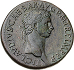 obverse: Claudius (41-54).  AE Sestertius. Obv. TI CLAVDIVS CAESAR AVG PM TR P IMP PP. Laureate head right. Rev. EX SC/PP/OB CIVES/ SERVATOS in oak-wreath. RIC 112. C. 38. AE. g. 27.83  mm. 36.00  Scarce.  About EF/EF. A superb portrait. Olive green patina.