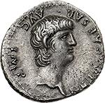 obverse: Nero (54-68).  AR Denarius, 60-61. Rome mint. Obv. NERO CAESAR AVG. IMP. Bare head right. Rev. PONTIF MAX TR P VII COS III PP. Virtus standing left, holding parazonium and sceptre, foot on helmet; in field, EX-SC. RIC 26 (R3). AR. g. 3.61  mm. 18.50  RRR.  EF. Very rare. Lightly toned.