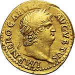 obverse: Nero (54-68).  AV Aureus, 66-67. Obv. IMP NERO CAESAR AVGVSTVS. Laureate head right. Rev. IVPPITER CVSTOS. Jupiter seated left on throne, holding thunderbolt and sceptre. RIC 63. AV. g. 7.42  mm. 19.50  R.  Good VF.