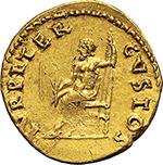 reverse: Nero (54-68).  AV Aureus, 66-67. Obv. IMP NERO CAESAR AVGVSTVS. Laureate head right. Rev. IVPPITER CVSTOS. Jupiter seated left on throne, holding thunderbolt and sceptre. RIC 63. AV. g. 7.42  mm. 19.50  R.  Good VF.